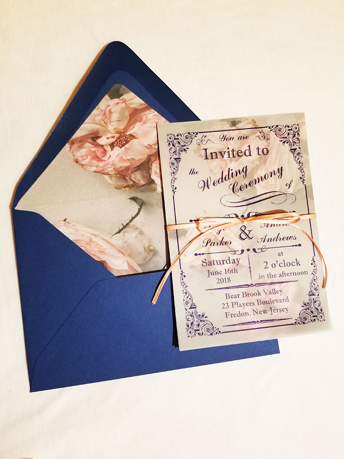 Rose vellum invite from Couture By Invitation